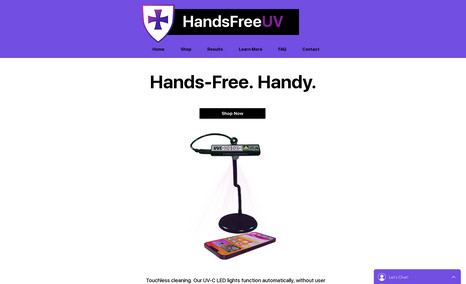 Clean Touch UV Sanitizer This is a website designed for a handsfree, UV lig...