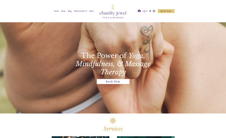 Chastity Jewel A website centered on yoga and massages, a perfect...