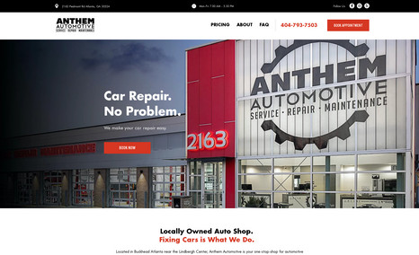Anthem Automotive Auto body shop with ad-ready pages