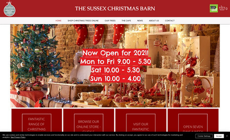 Sussex Christmas Barn eCommerce site for retail Christmas outlet that in...