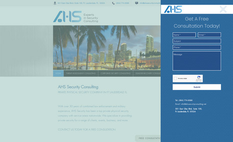 AHS Security Consulting Classic webpage design for a private security firm...