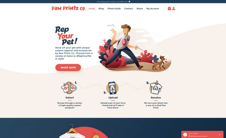 Paw Prints Co - Custom CORVID code, custom product page, file uploads with orders. This is a fully custom product page with custom functionality.