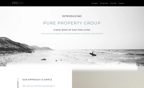 Pure Property Group Site features custom code, as well as, custom anim...