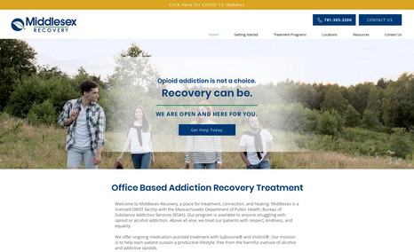 Middlesex Recovery Addiction Recovery - migrate website, redesign