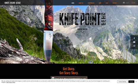 Knife Point Gear A rustic design to display an online store and ins...