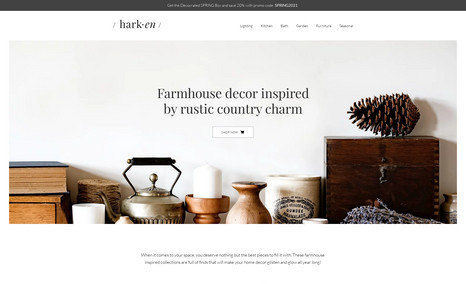 Harken Online resource for farmhouse style decor.
