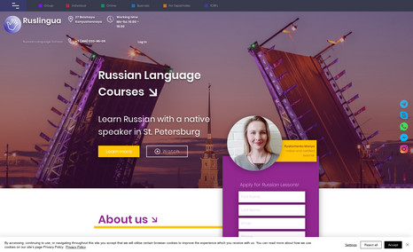 Ruslingua school Complete redesign of existing Wix-site