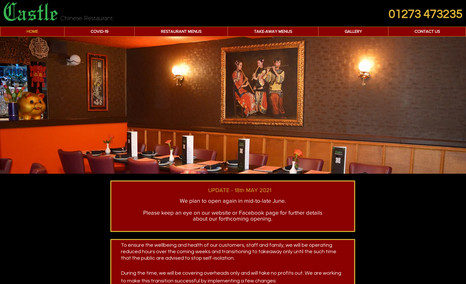 Castle Chinese restaurant Website for local Chinese Restaurant including Wix...