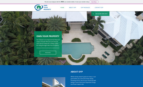Own Your Property 1 page website for property investment company. R4...