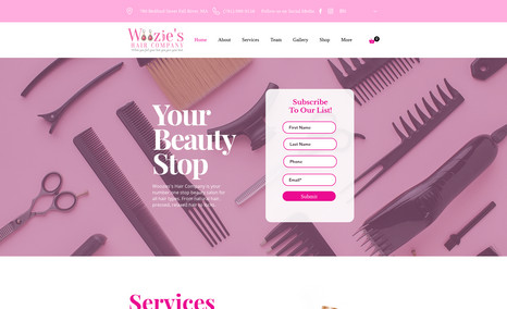 Woozie's Hair Company Professional clean website for a small hair compan...