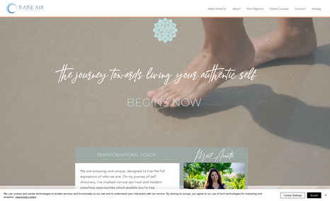 Rare Air Coaching website featuring online bookings, downlo...
