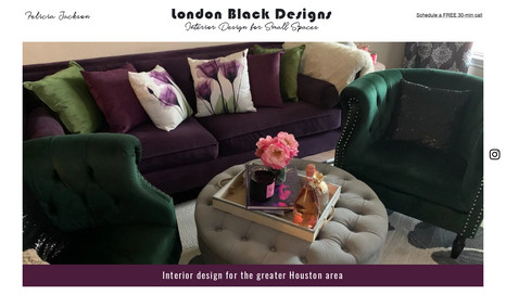 London Black Designs A trendy, one-page, starter site for an interior d...