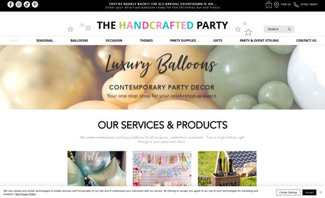 The Handcrafted Party eCommerce website with 1,000s of party products