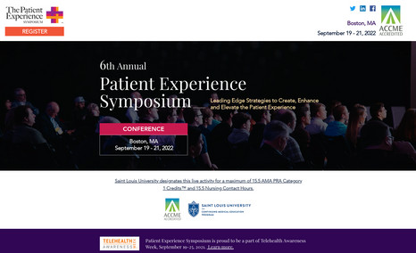 Patient Experience Symposium 6 page event/conference site with 'speakers' datab...